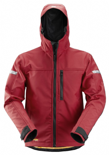 Snickers 1229 AllroundWork Softshell Jacket with Hood (Chili Red/Black)
